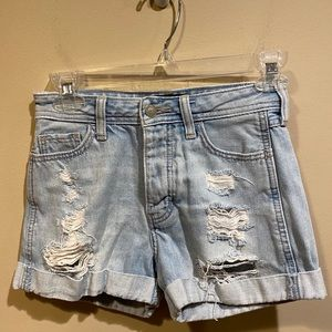 Hollister Light Wash High Waisted Jean Shorts